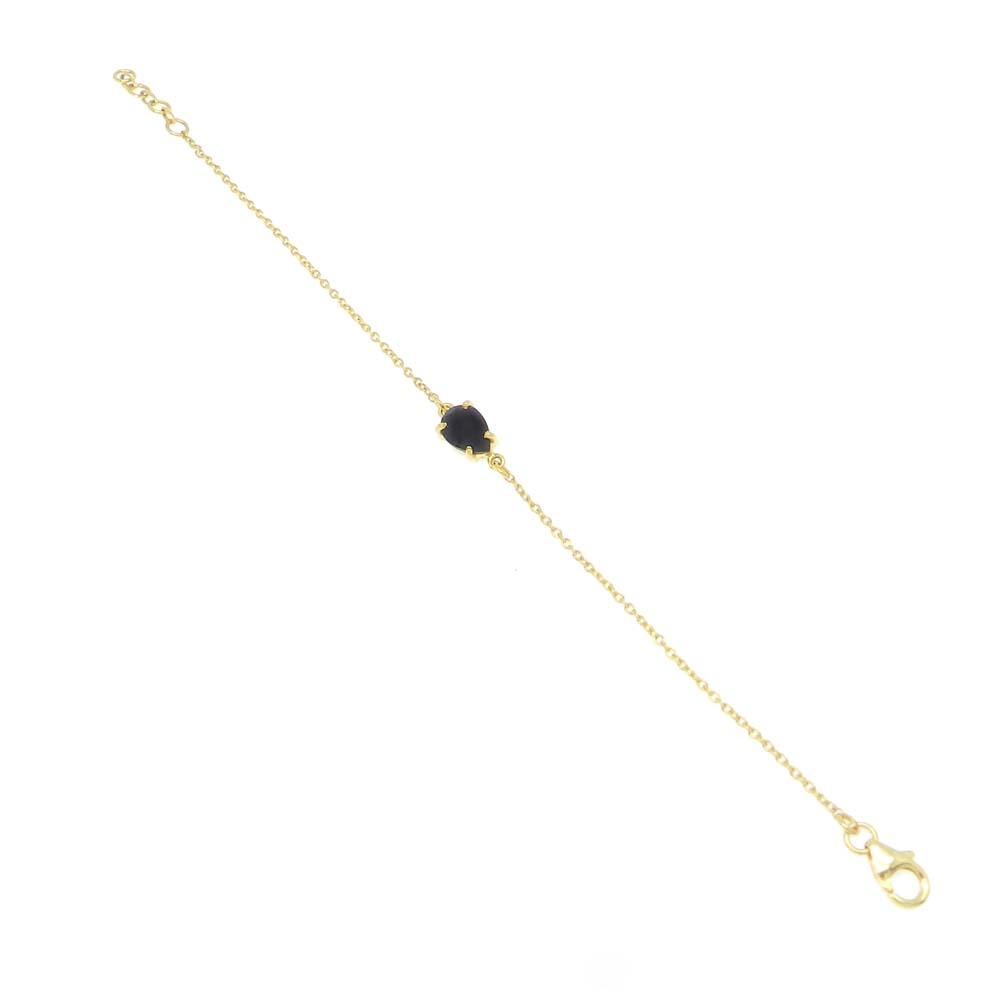 925 Sterling Silver Black Onyx Pear Gemstone Chain Bracelet
