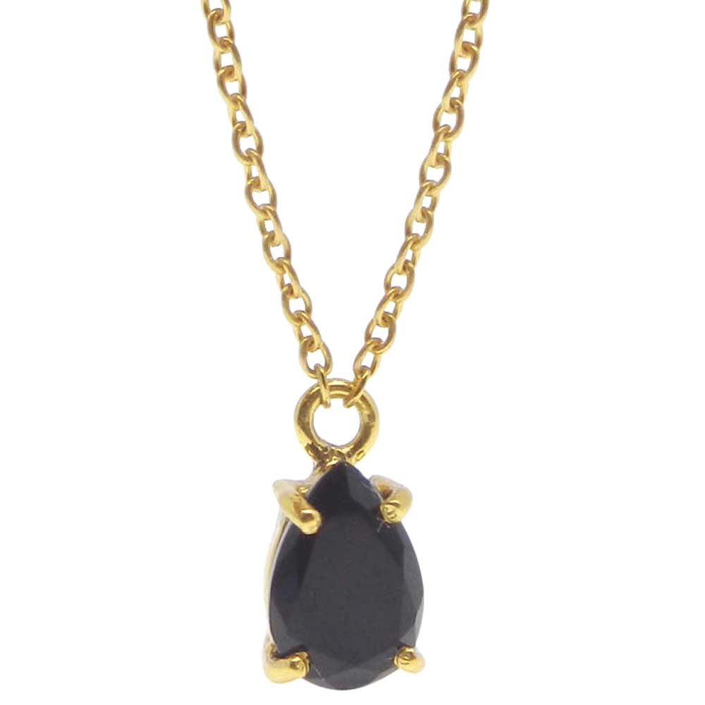 925 Sterling Silver Black Onyx Pear Gemstone Chain Necklace