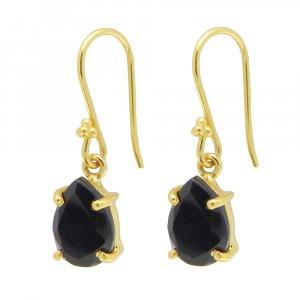 925 Sterling Silver Black Onyx Pear Gemstone Dangle Earrings