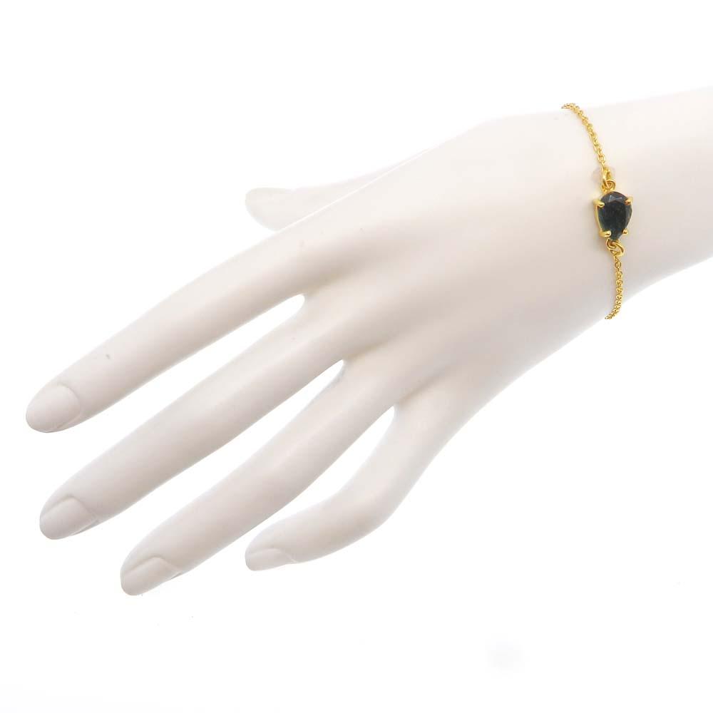 925 Sterling Silver Emerald Corundum Pear Gemstone Chain Bracelet