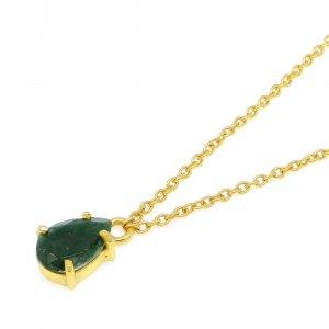 925 Sterling Silver Emerald Corundum Pear Gemstone Chain Necklace