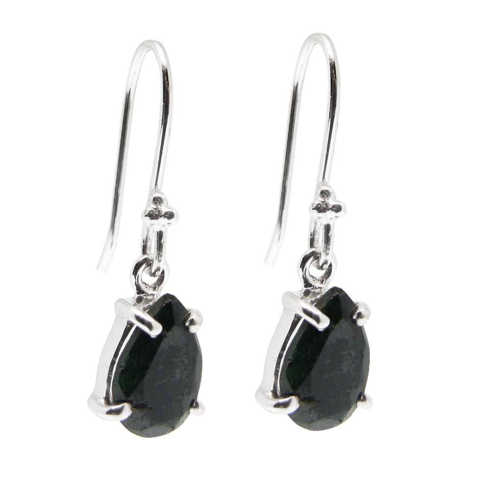 925 Sterling Silver Emerald Corundum Pear Gemstone Dangle Earrings