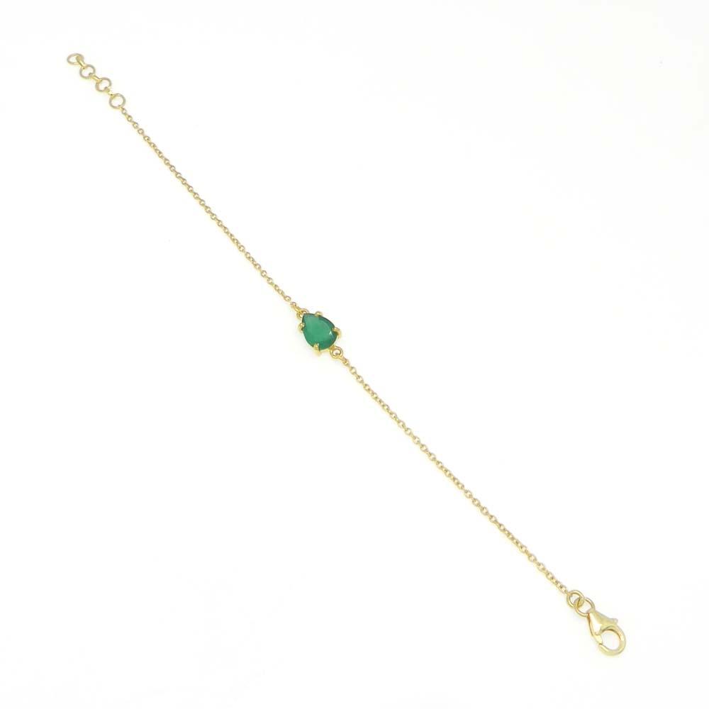 925 Sterling Silver Green Onyx Pear Gemstone Chain Bracelet