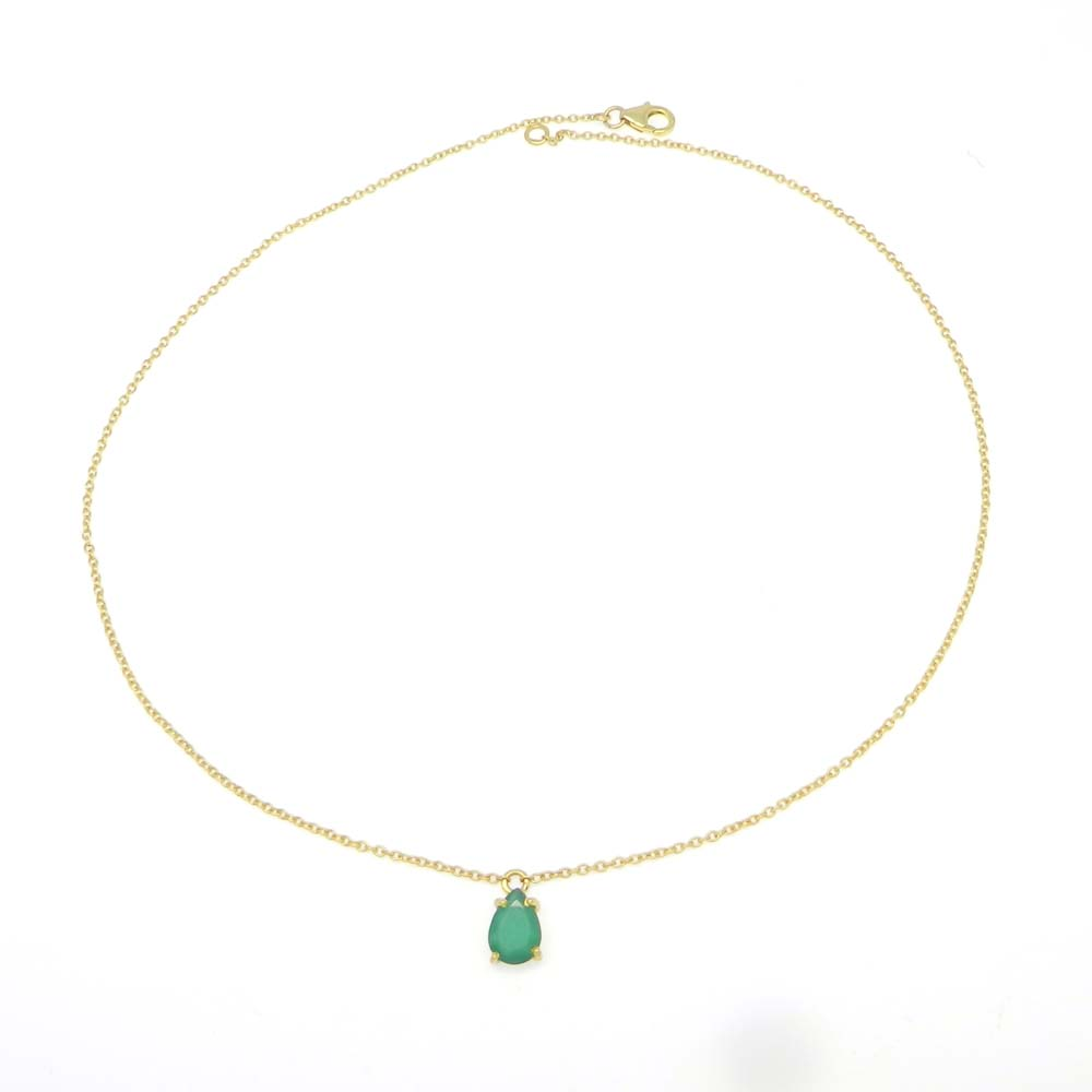 925 Sterling Silver Green Onyx Pear Gemstone Chain Necklace