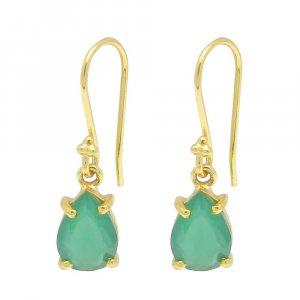 925 Sterling Silver Green Onyx Pear Gemstone Dangle Earrings