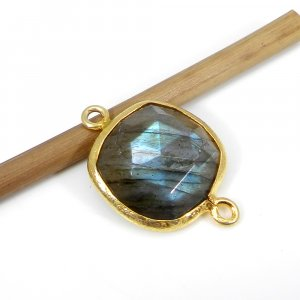 925 Sterling Silver Labradorite Gemstone With Gold Plating Double Loop Connector