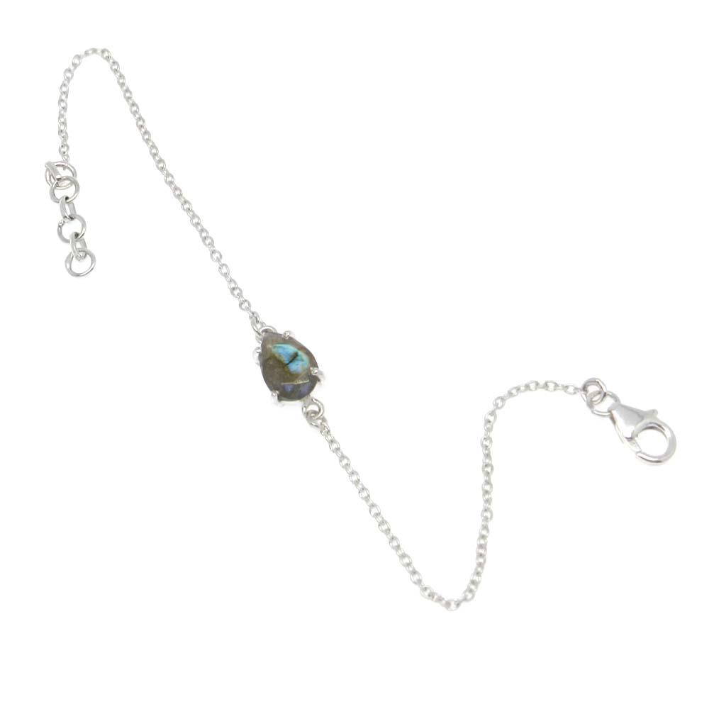 925 Sterling Silver Labradorite Pear Gemstone Chain Bracelet