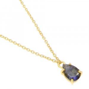 925 Sterling Silver Labradorite Pear Gemstone Chain Necklace