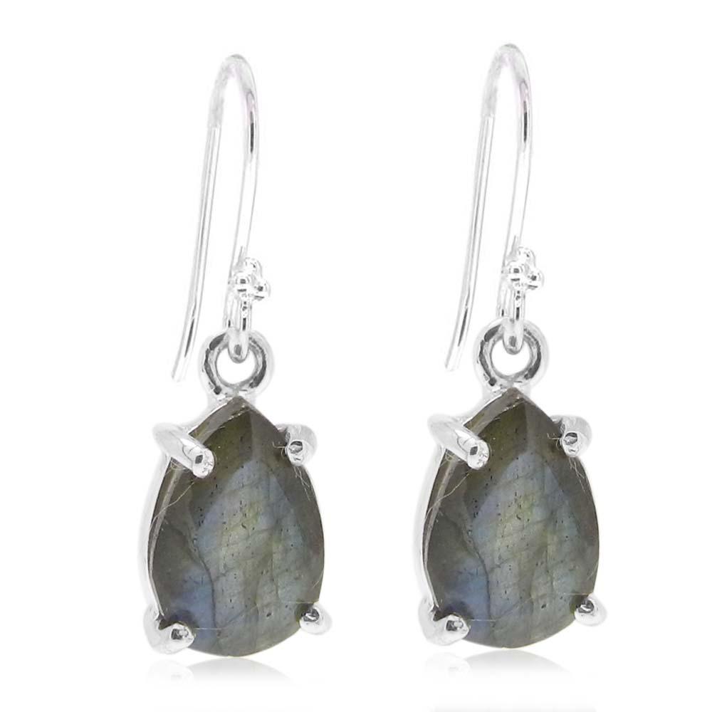 925 Sterling Silver Labradorite Pear Gemstone Dangle Earrings