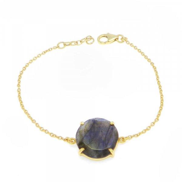 925 Sterling Silver Labradorite Round Gemstone Chain Bracelet