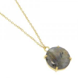 925 Sterling Silver Labradorite Round Gemstone Chain Necklace