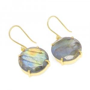 925 Sterling Silver Labradorite Round Gemstone Dangle Earrings