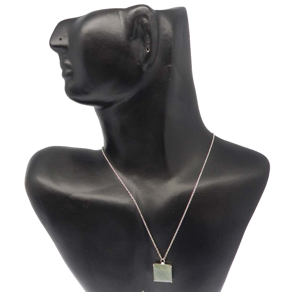 925 Sterling Silver Milky Aquamarine Square Gemstone Chain Necklace