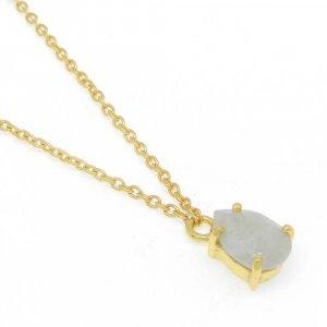925 Sterling Silver Nylon Aventurine Pear Gemstone Chain Necklace