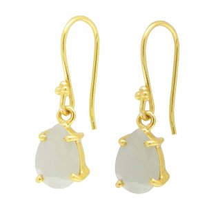 925 Sterling Silver Nylon Aventurine Pear Gemstone Dangle Earrings