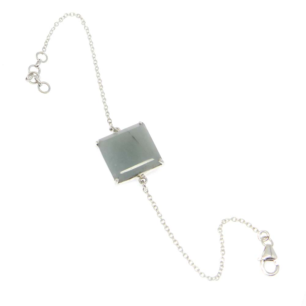 925 Sterling Silver Nylon Aventurine Square Gemstone Chain Bracelet