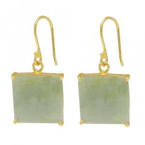 925 Sterling Silver Nylon Aventurine Square Gemstone Dangle Earrings