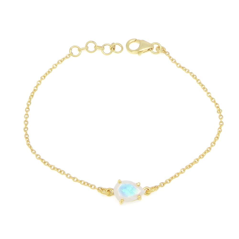 925 Sterling Silver Rainbow Moonstone Pear Gemstone Chain Bracelet