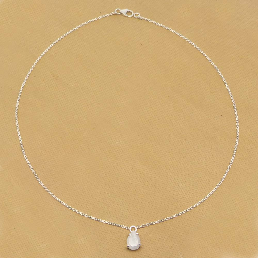 925 Sterling Silver Rainbow Moonstone Pear Gemstone Chain Necklace