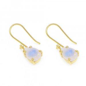 925 Sterling Silver Rainbow Moonstone Pear Gemstone Dangle Earrings