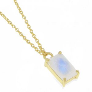 925 Sterling Silver Rainbow Moonstone Rectangle Gemstone Chain Necklace