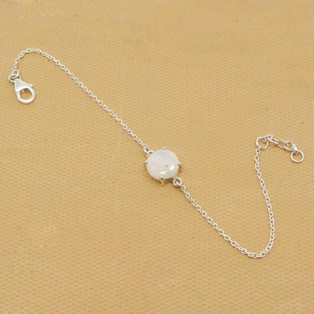 925 Sterling Silver Rainbow Moonstone Round Gemstone Chain Bracelet