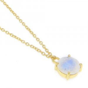 925 Sterling Silver Rainbow Moonstone Round Gemstone Chain Necklace