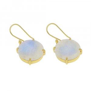 925 Sterling Silver Rainbow Moonstone Round Gemstone Dangle Earrings