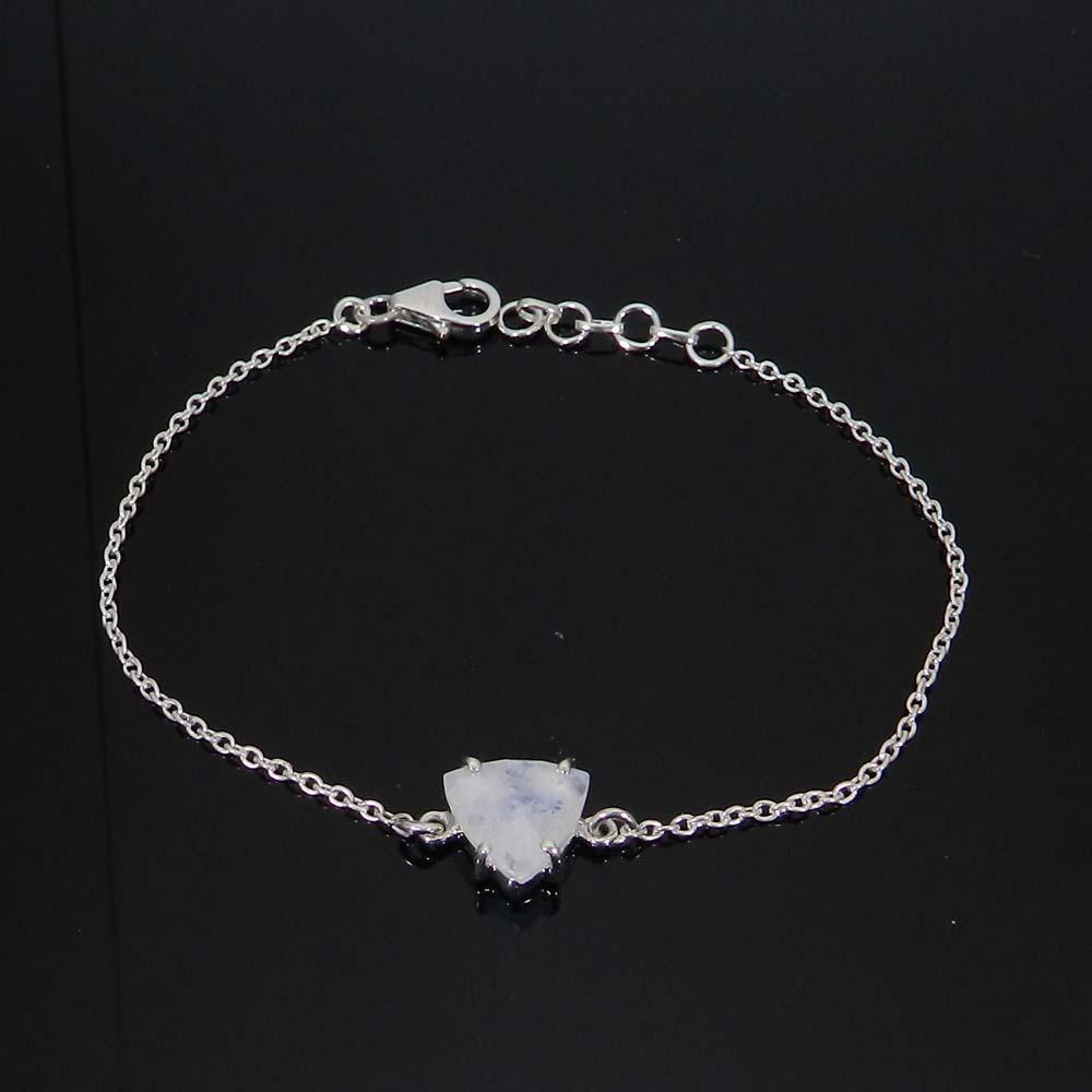 925 Sterling Silver Rainbow Moonstone Trillion Gemstone Chain Bracelet