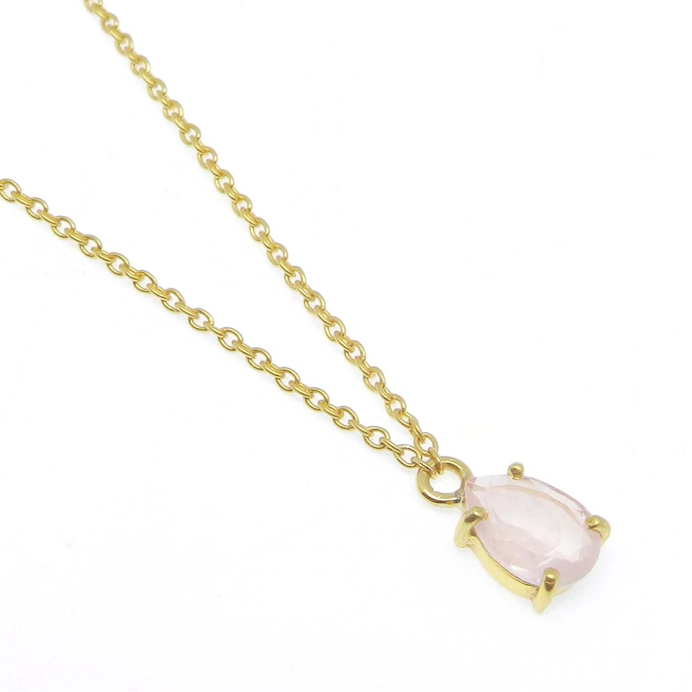 925 Sterling Silver Rose Quartz Pear Gemstone Chain Necklace