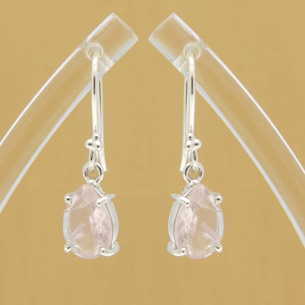 925 Sterling Silver Rose Quartz Pear Gemstone Dangle Earrings