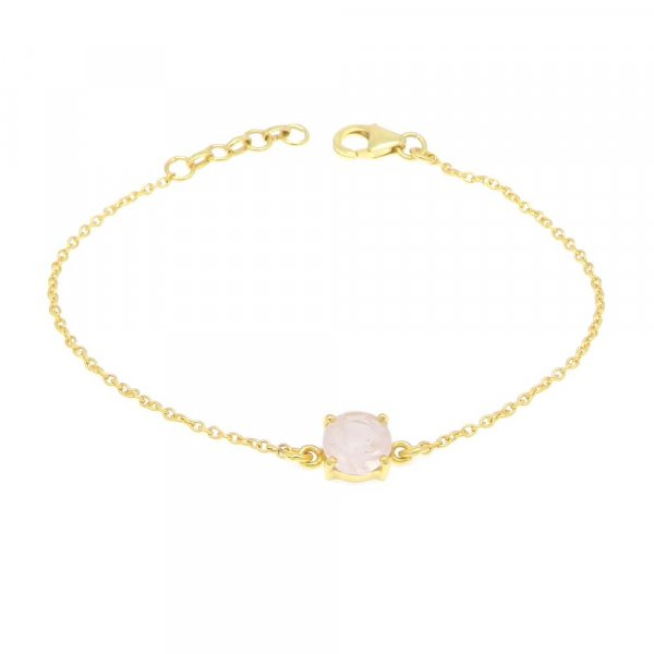 925 Sterling Silver Rose Quartz Round Gemstone Chain Bracelet