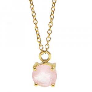 925 Sterling Silver Rose Quartz Round Gemstone Chain Necklace