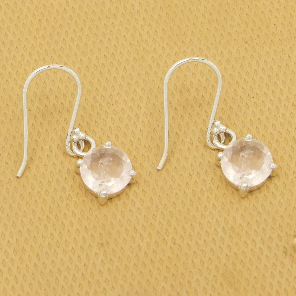 925 Sterling Silver Rose Quartz Round Gemstone Dangle Earrings