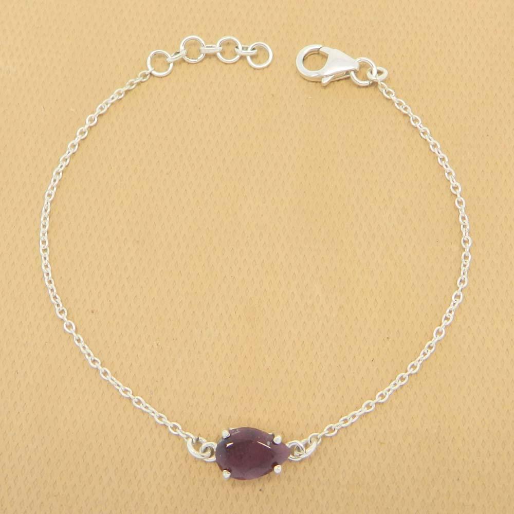 925 Sterling Silver Ruby Corundum Gemstone Pear Chain Bracelet