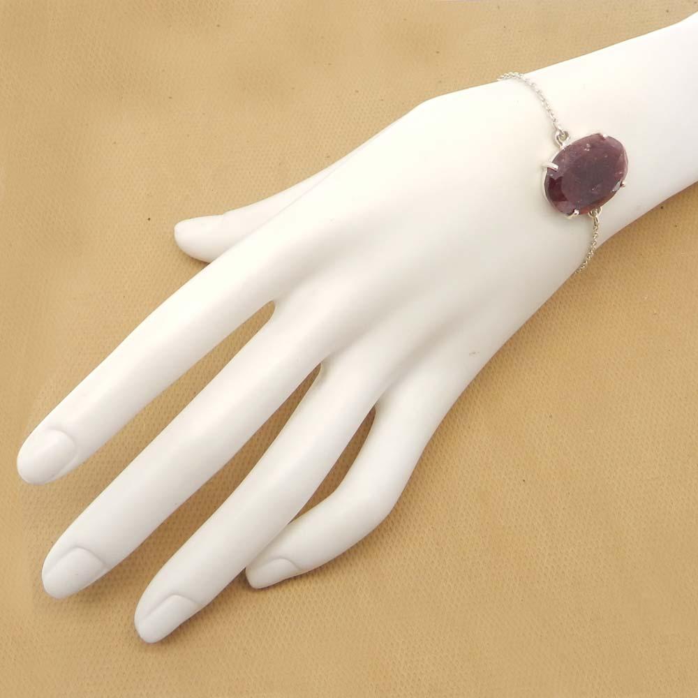 925 Sterling Silver Ruby Corundum Oval Gemstone Chain Bracelet