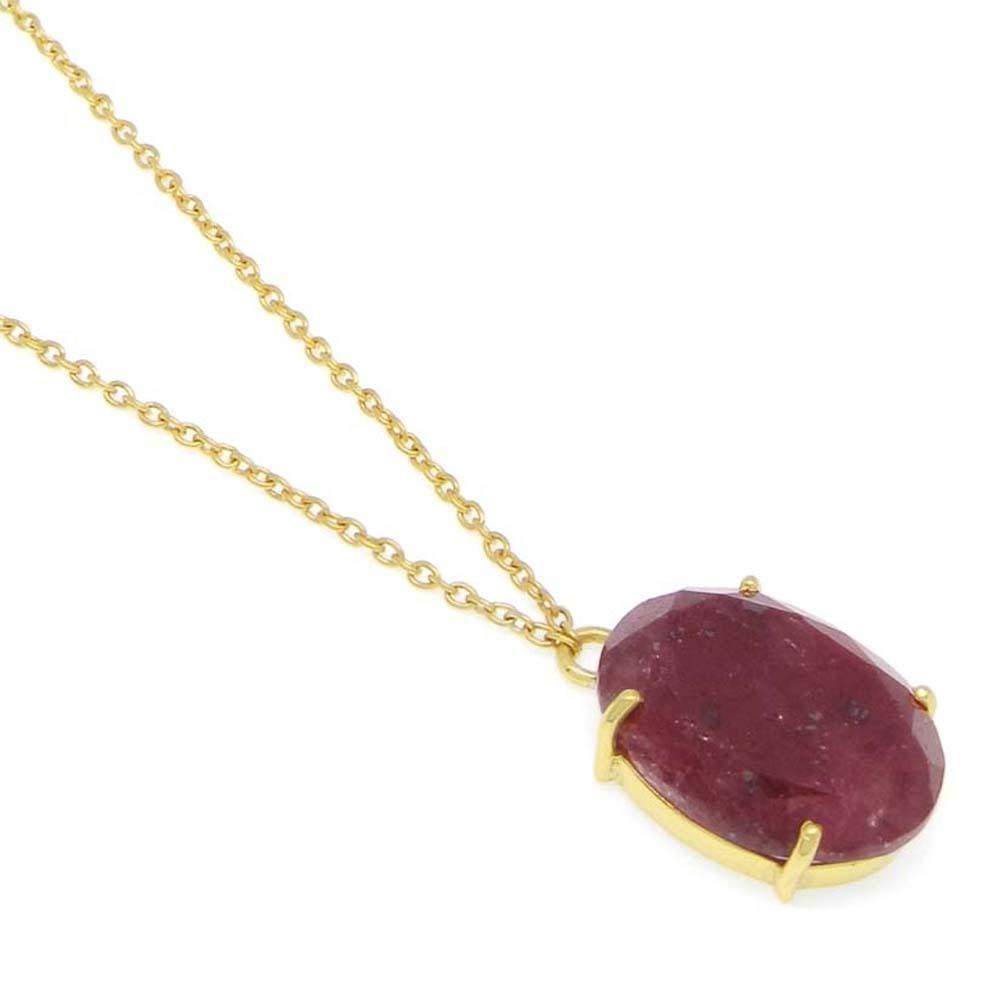 925 Sterling Silver Ruby Corundum Oval Gemstone Chain Necklace