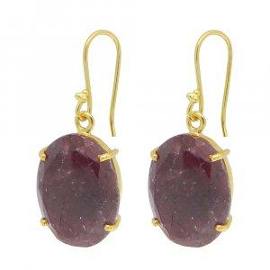 925 Sterling Silver Ruby Corundum Oval Gemstone Dangle Earrings