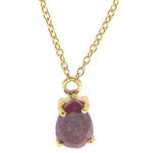 925 Sterling Silver Ruby Corundum Pear Gemstone Chain Necklace