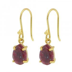 925 Sterling Silver Ruby Corundum Pear Gemstone Dangle Earrings