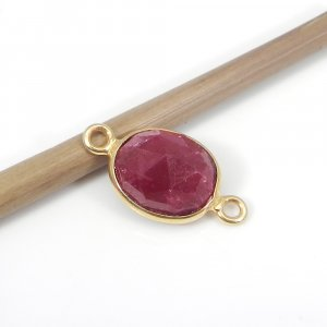 925 Sterling Silver Ruby Corundum With Gold Plating Double Loop Connector