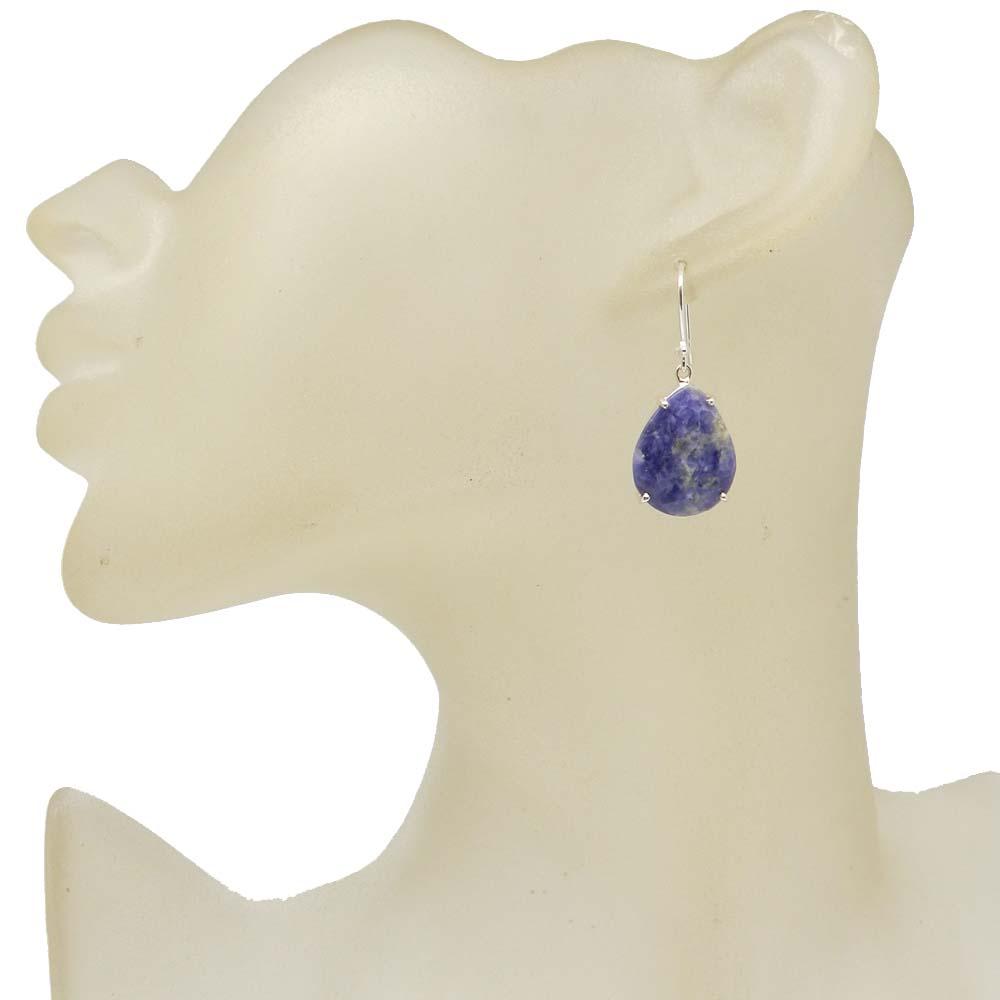 925 Sterling Silver Sodalite Pear Gemstone Dangle Earrings