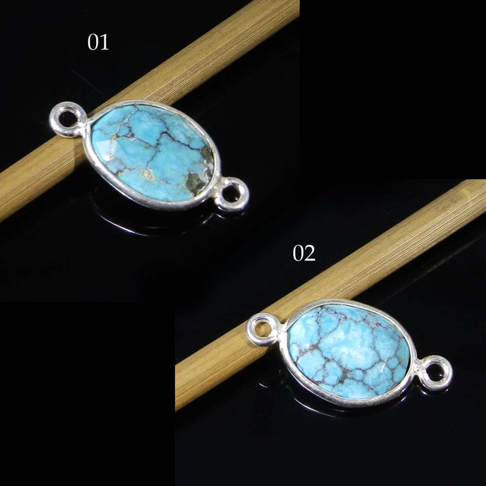925 Sterling Silver Turquoise Oval 19x10mm Gemstone Connector
