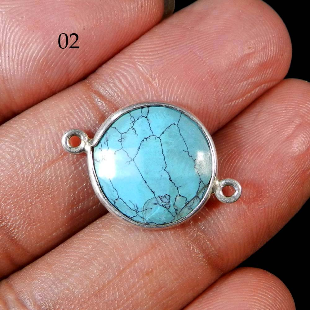 925 Sterling Silver Turquoise Round 23x16mm Gemstone Connector