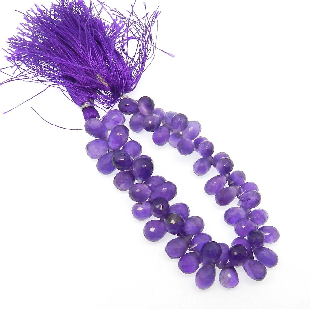 African Amethyst 12x8mm Drop Facet 8 inch Strand Beads