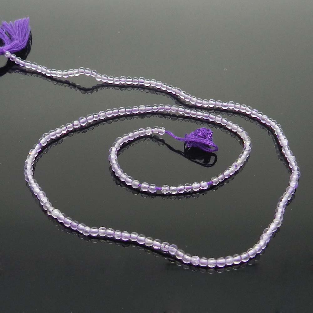 African Amethyst 2.5mm Round Smooth Plain 16 inch Beads