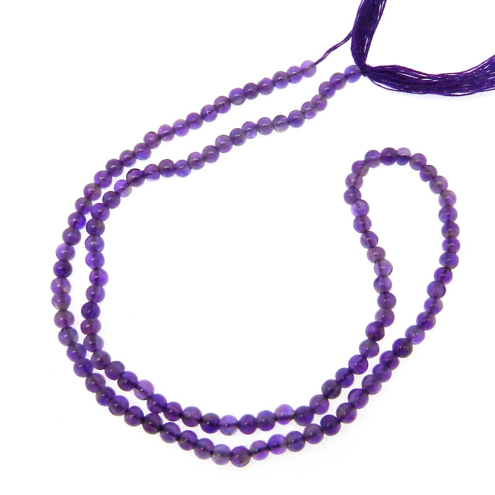 African Amethyst 3mm Round Plain 14.5 inch Beads