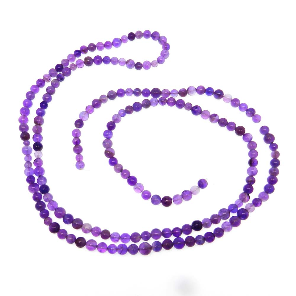 African Amethyst 5.5mm Round Plain 38 inch Beads Strand