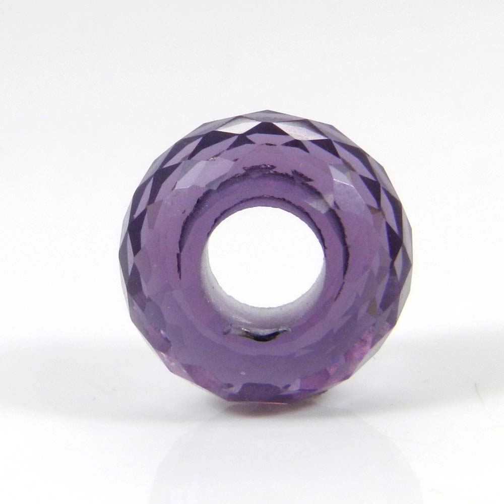 African Amethyst Hydro Big Hole Roundel Faceted Beads 14x8x5.5mm