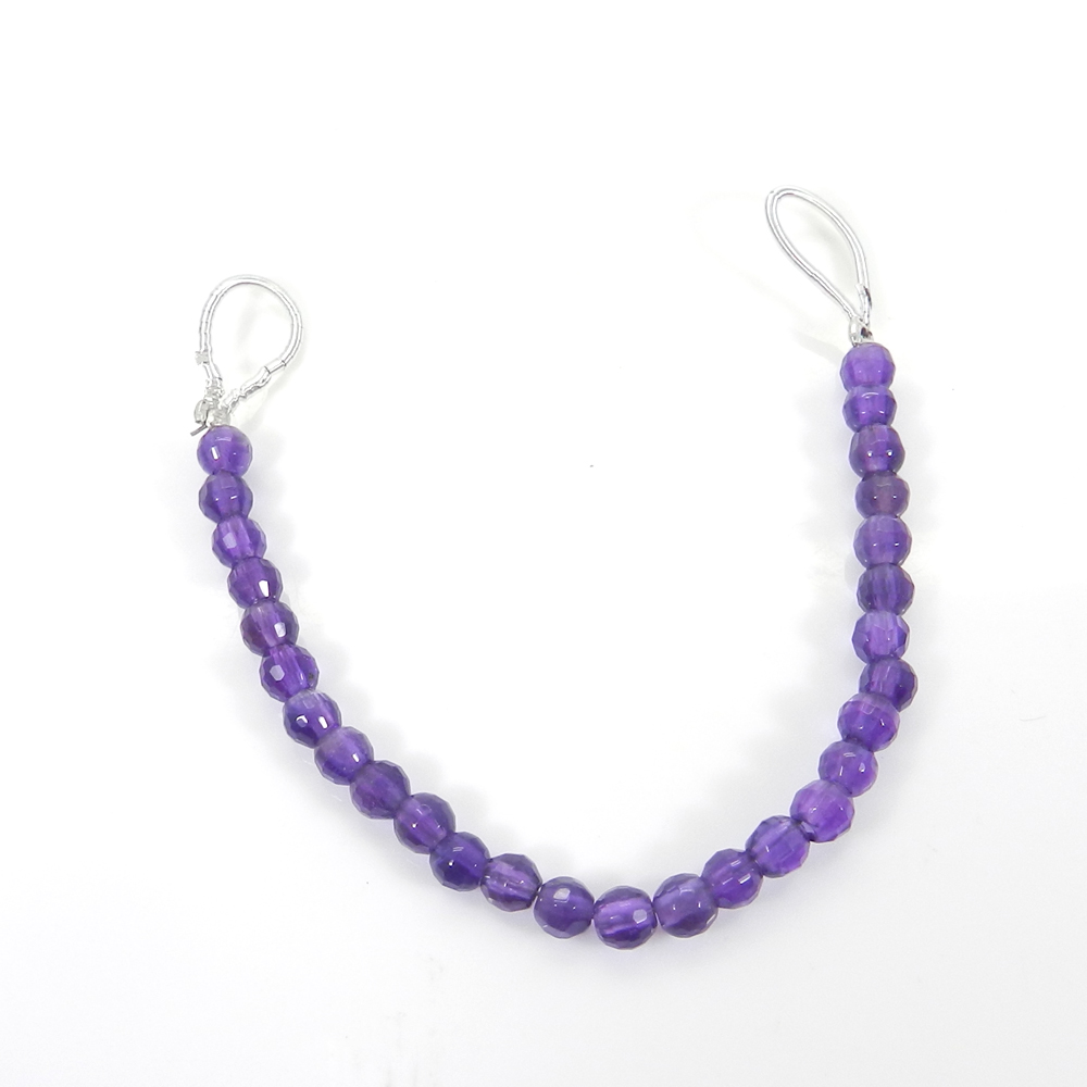 African Amethyst Roundel Faceted Beads 4mm 4.1 inch 12.55 Cts